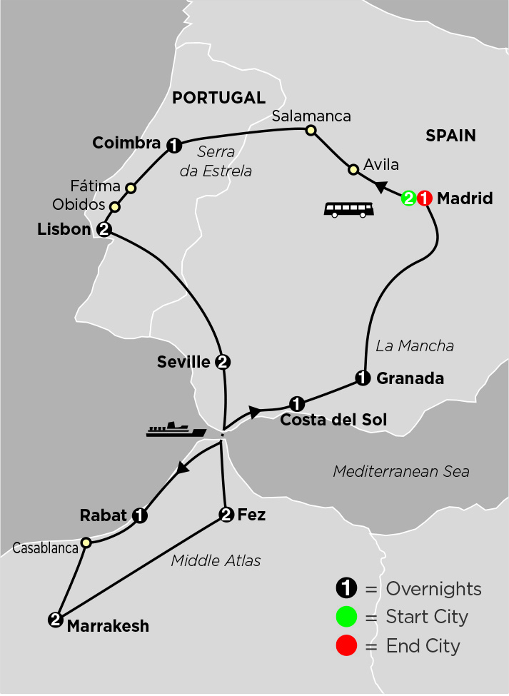Detailed Map Of Spain Portugal And Morocco.Cosmos Spain Portugal Morocco Travel Managers